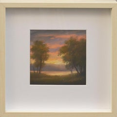 No. 24:  Mini Landscape Pastel of Hudson Valley Sunset, Jane Bloodgood-Abrams