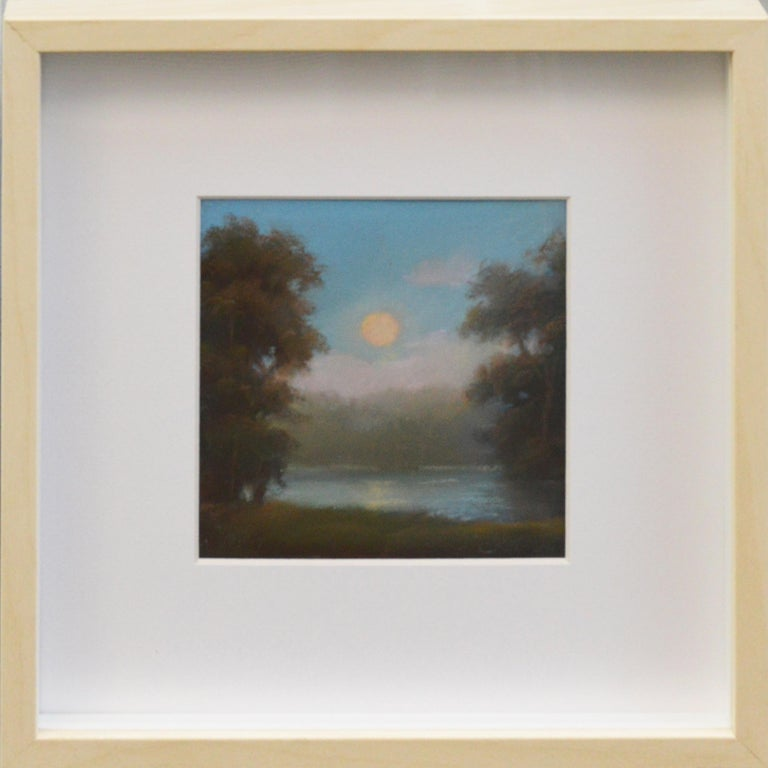 No 23:  Small Landscape Drawing of Hudson Valley Moonrise, Jane Bloodgood-Abrams - Hudson River School Art by Jane Bloodgood-Abrams