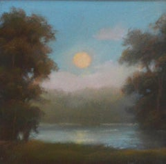 No 23:  Small Landscape Drawing of Hudson Valley Moonrise, Jane Bloodgood-Abrams