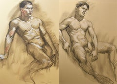 MB 076 A&B (Double Sided Figurative Charcoal Drawing of Male Nudes)