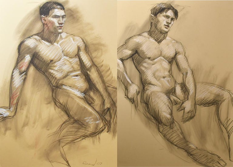 Figurative drawing of male nudes made with graphite, charcoal, and conte crayon on Arches paper 30 x 22 inches, unframed One piece of 30 x 22 inch Arches. Two drawings, one on either side.   This unique life study drawings of two seated male nudes