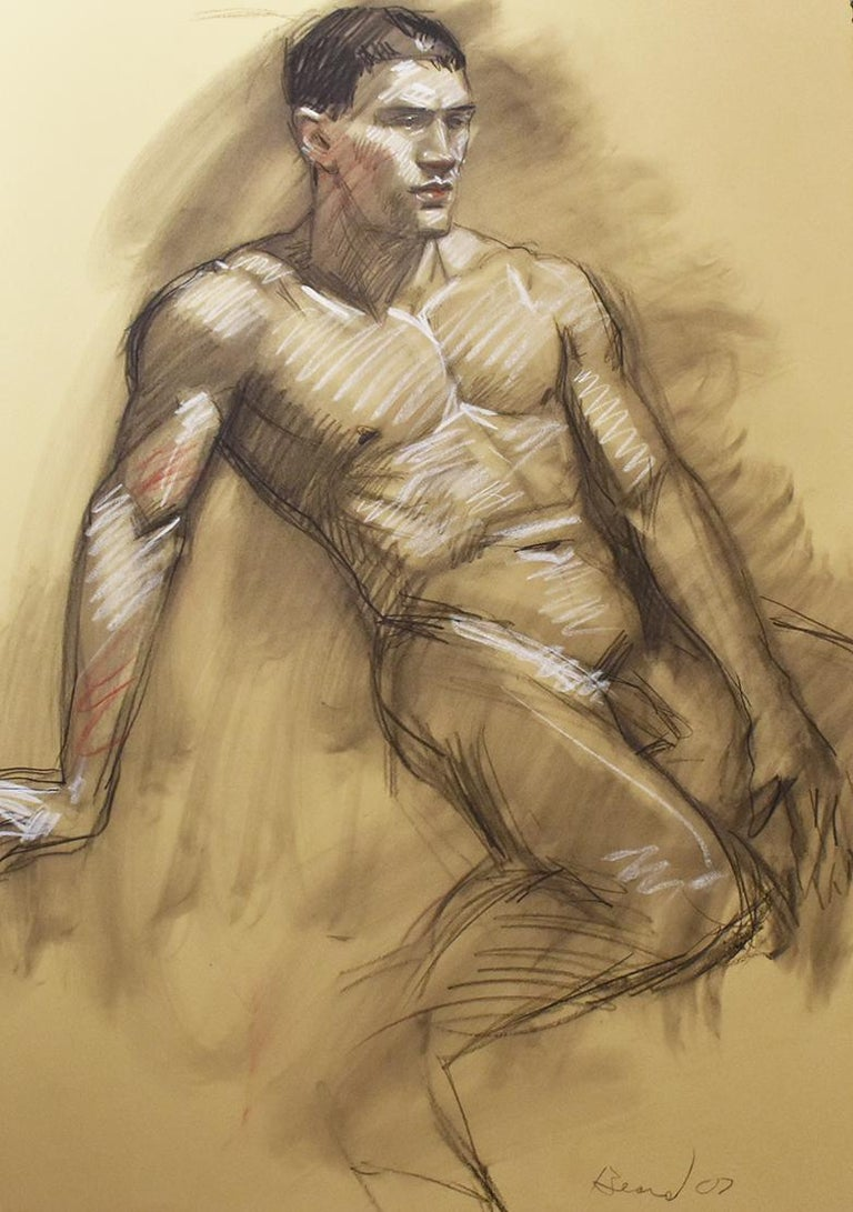 Mb 076 ab double sided figurative charcoal drawing of male nudes