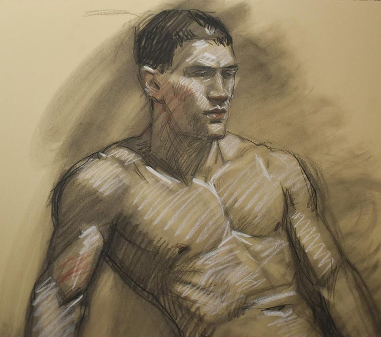 MB 076 A&B (Double Sided Figurative Charcoal Drawing of Male Nudes) For Sale 4