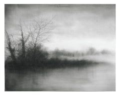 Water's Edge (Black & White Charcoal Landscape Drawing of Trees & Water, Framed)