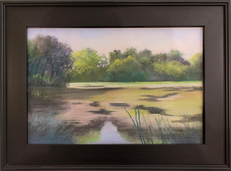 Old Pond Chatham (Impressionist Style Landscape Drawing of a Country Pond) - Art by Judy Reynolds