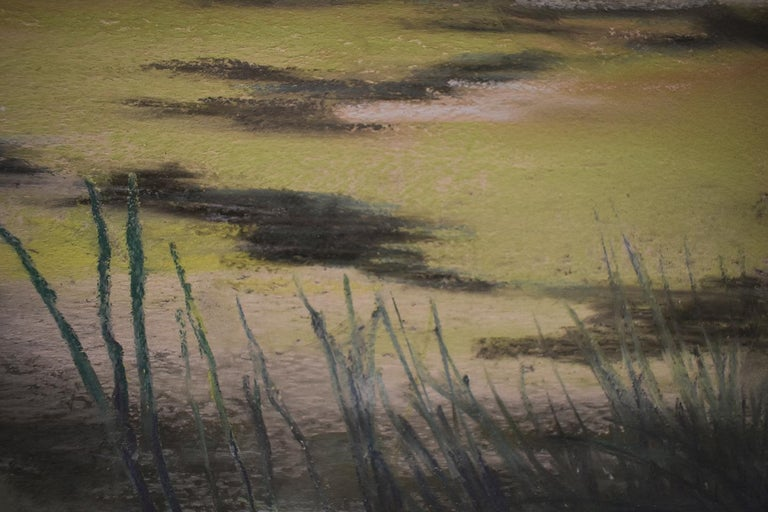 Modern, impressionist style landscape drawing on paper in soft hues of violet and green pastel 'Old Pond Chatham', Made in 2018 Pastel on paper 8 x 12 inches unframed, 12 x 17.5 inches in black frame Signed lower left   This horizontal pastel on