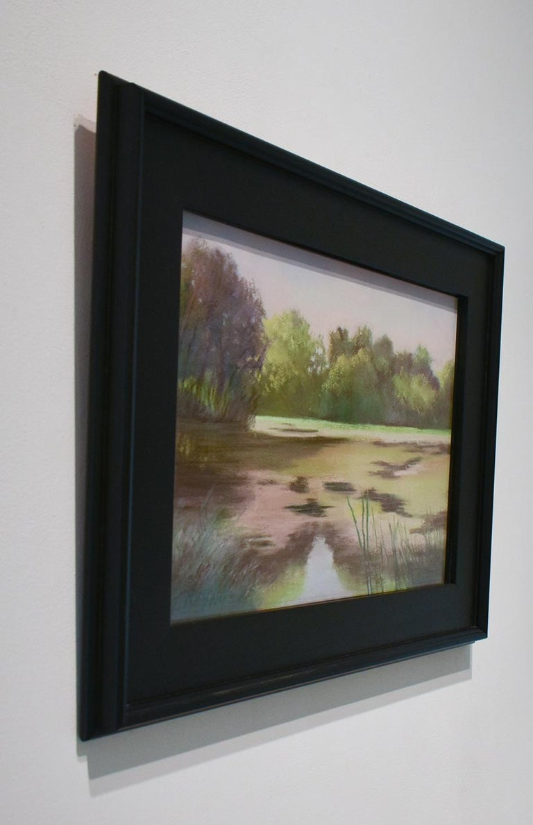 Old Pond Chatham (Impressionist Style Landscape Drawing of a Country Pond) - Gray Landscape Art by Judy Reynolds