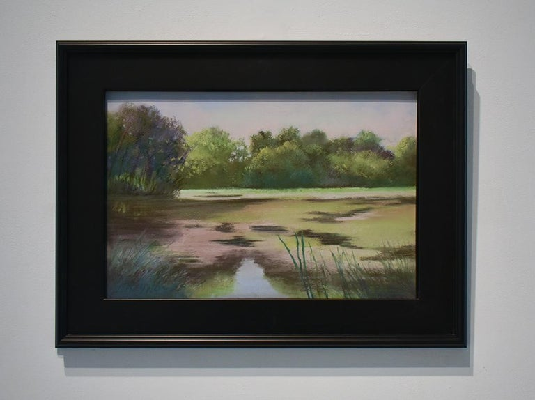 Old Pond Chatham (Impressionist Style Landscape Drawing of a Country Pond) - Modern Art by Judy Reynolds
