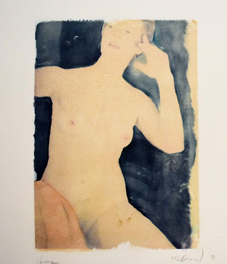 Untitled 31 (Figurative Drawing Polaroid Transfer of a Young Female Nude)  - Art by Mark Beard