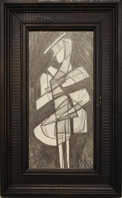 Infanta LIV (Abstract Figurative Graphite Drawing in Black Vintage Frame)