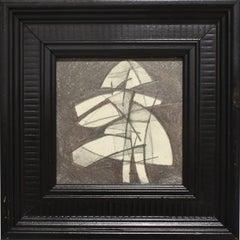 Infanta LV (Abstract Figurative Graphite Drawing in Black Vintage Frame)