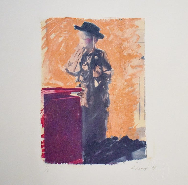Mark Beard Figurative Photograph - Untitled 25 (Figurative Drawing Polaroid Transfer of a Boy in Cowboy Costume)