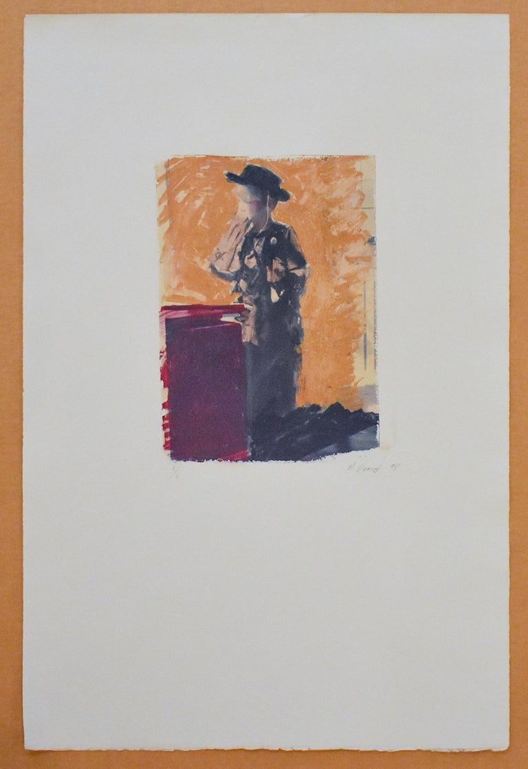 Untitled 25 (Figurative Drawing Polaroid Transfer of a Boy in Cowboy Costume) - Photograph by Mark Beard