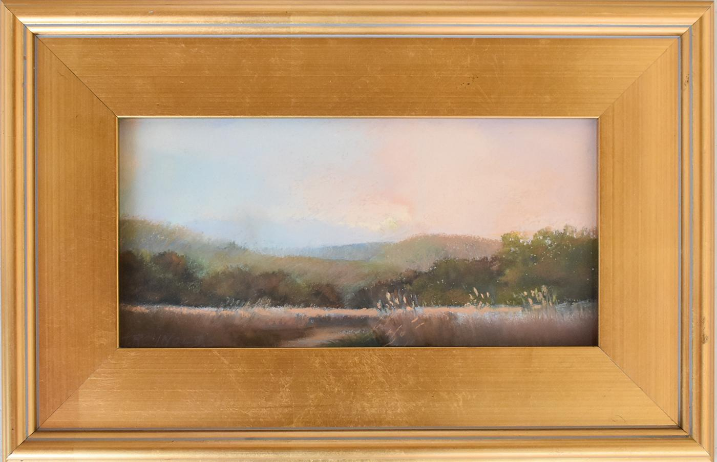 Iona Marsh (En Plein Air Landscape Pastel Drawing on Paper in a Gold Frame)