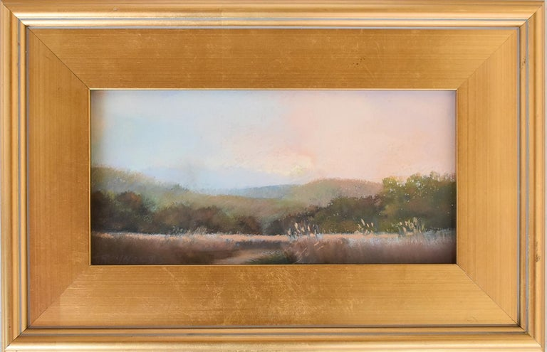 Judy Reynolds Landscape Art - Iona Marsh (En Plein Air Landscape Pastel Drawing on Paper in a Gold Frame)