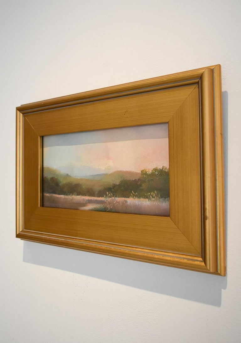 Iona Marsh (En Plein Air Landscape Pastel Drawing on Paper in a Gold Frame) - Hudson River School Art by Judy Reynolds