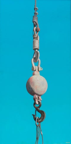 Pink Ball & Hook (Photorealist Oil Painting of Industrial Equipment on Blue)