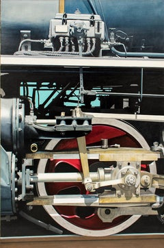 Essex V (Large Photorealist Oil Painting on Canvas of a Red Train Wheel)