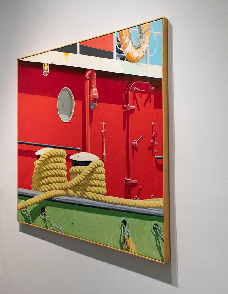 Red Tug (Nautical Photorealist Oil Painting on Canvas of a Red Boat) For Sale 1