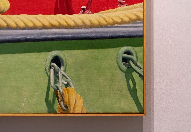 Red Tug (Nautical Photorealist Oil Painting on Canvas of a Red Boat) For Sale 2