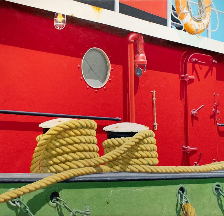 Joseph E. Richards Still-Life Painting - Red Tug (Nautical Photorealist Oil Painting on Canvas of a Red Boat)