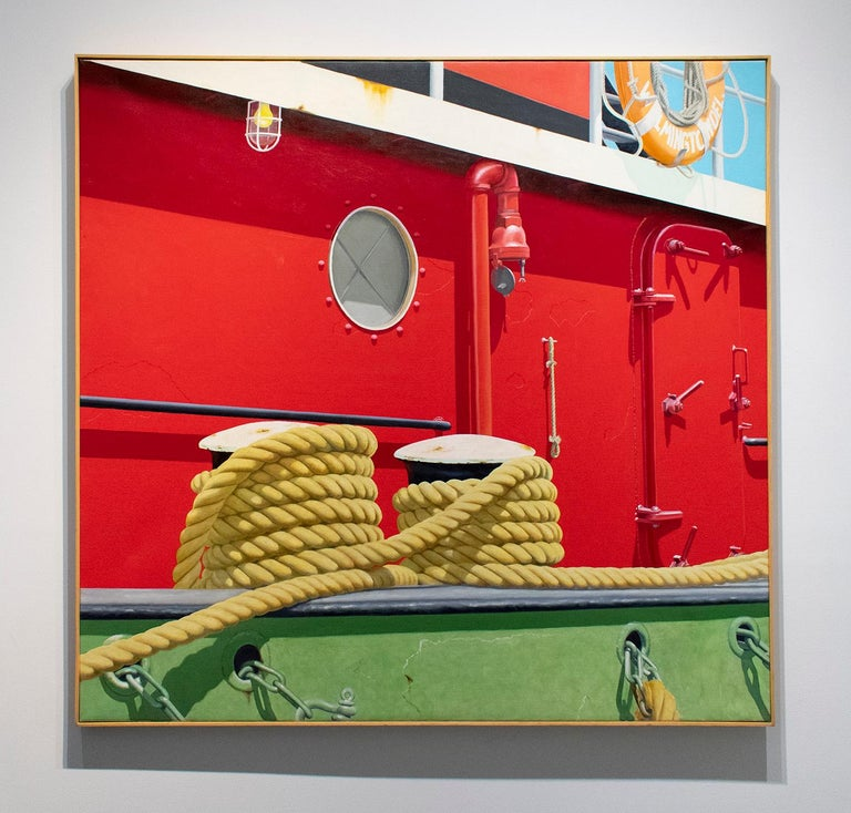 Large, nautical themed photo-realist painting on canvas featuring the side of a red tug boat with yellow rope, blue sky, and green siding 51 x 49 x 2 inches oil on canvas, thin wood stripping signed verso,