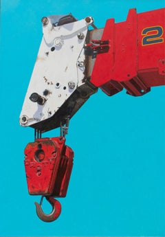 Telescoping #2 (Large Photorealist Oil Painting of a Red & White Crane on Blue)