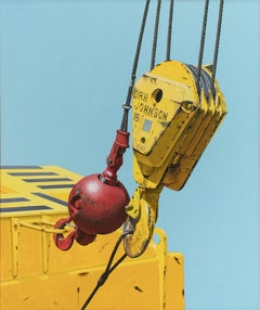 DRH Johnson (Photo-Realist Painting on Canvas of a Red & Yellow Hook on Blue)