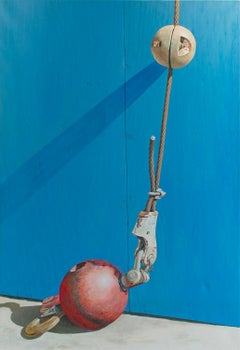 Red Ball: Large Photo-Realist Painting of Industrial Red Ball & Hook on Blue