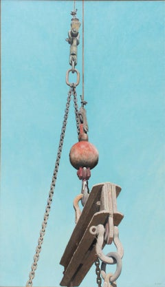 Crane: Large Photo-Realist Painting of Industrial Red Ball & Grey Crane on Blue