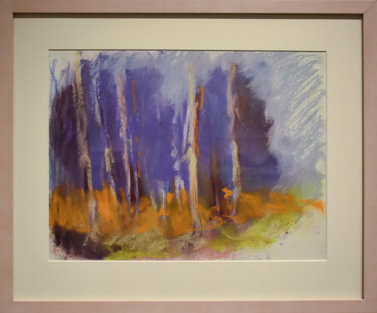 Violet Birches (Colorful Abstracted Landscape Pastel of Birch Trees, Framed) - Art by Nancy Rutter