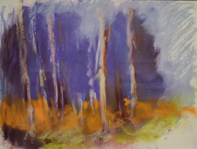 Nancy Rutter Landscape Art - Violet Birches (Colorful Abstracted Landscape Pastel of Birch Trees, Framed)