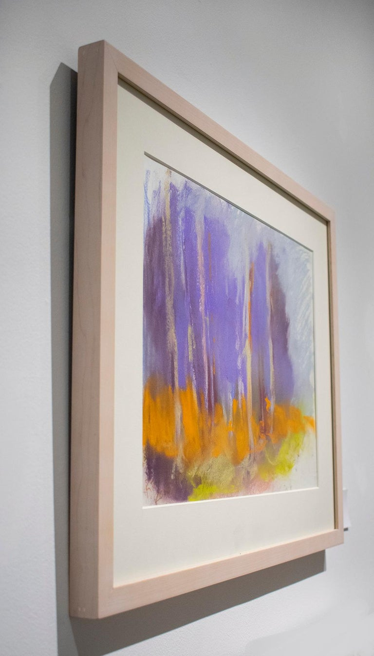 Violet Birches (Colorful Abstracted Landscape Pastel of Birch Trees, Framed) - Contemporary Art by Nancy Rutter