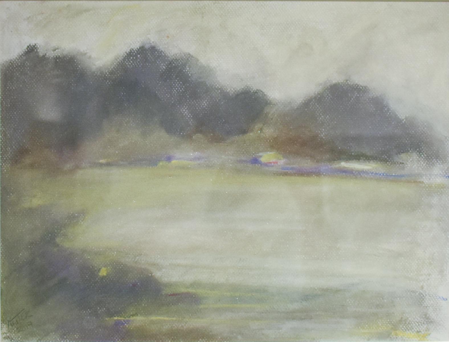 Silvery Dreams I (Cool Monotone Abstracted Landscape Pastel Drawing, Framed)