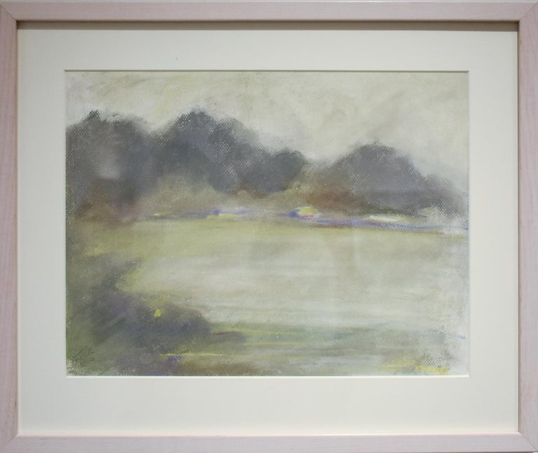 Silvery Dreams I (Cool Monotone Abstracted Landscape Pastel Drawing, Framed) - Art by Nancy Rutter