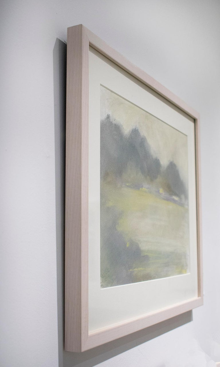 Silvery Dreams I (Cool Monotone Abstracted Landscape Pastel Drawing, Framed) - Contemporary Art by Nancy Rutter