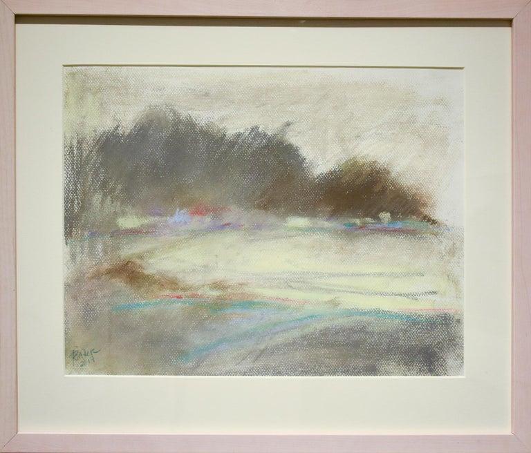 Silvery Dreams II: Abstract Landscape Pastel Drawing in Grey, Blue & Pale Yellow - Art by Nancy Rutter