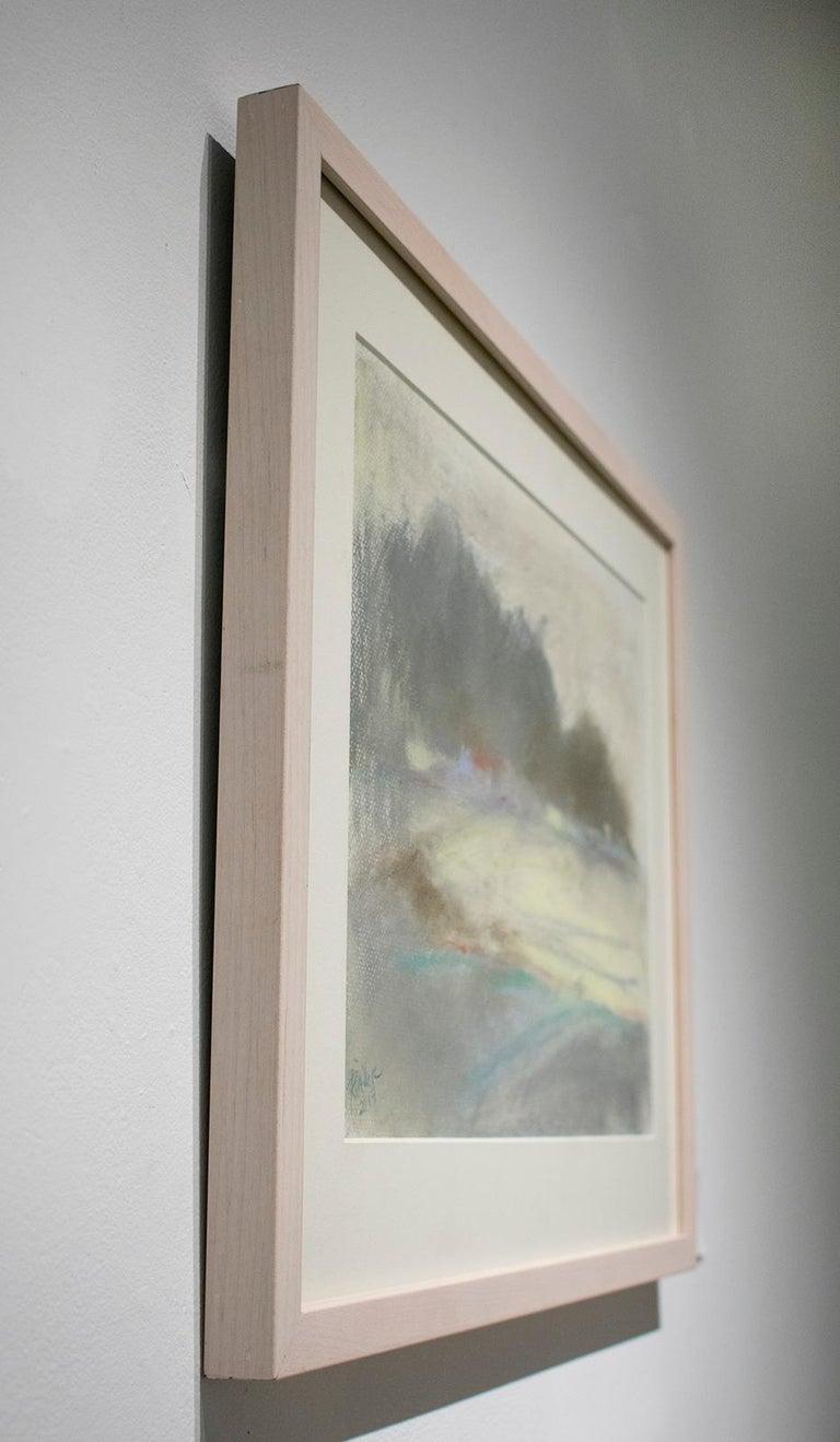 Silvery Dreams II: Abstract Landscape Pastel Drawing in Grey, Blue & Pale Yellow - Gray Landscape Art by Nancy Rutter