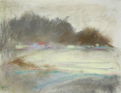 Silvery Dreams II: Abstract Landscape Pastel Drawing in Grey, Blue & Pale Yellow