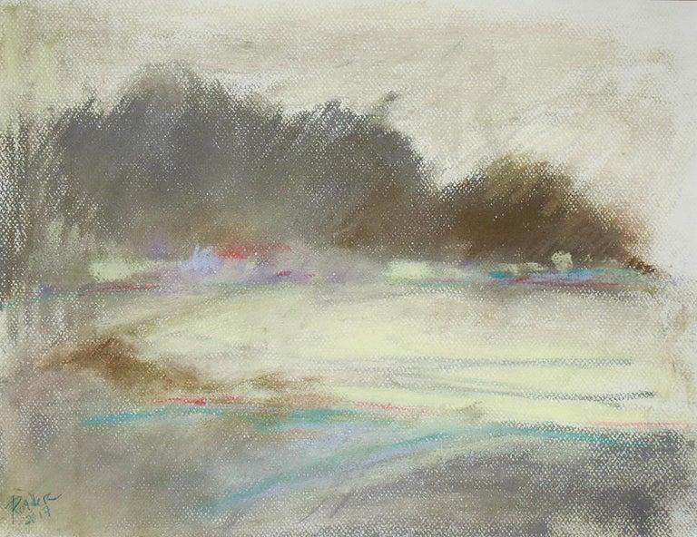 Nancy Rutter Landscape Art - Silvery Dreams II: Abstract Landscape Pastel Drawing in Grey, Blue & Pale Yellow