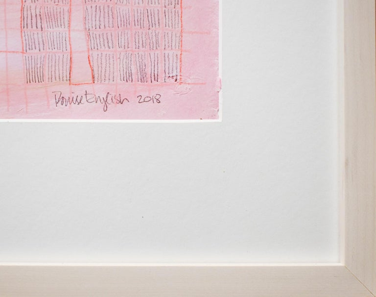 Pink Grid (Abstract Geometric Collage Drawing, Custom Non-Glare Frame) For Sale 1