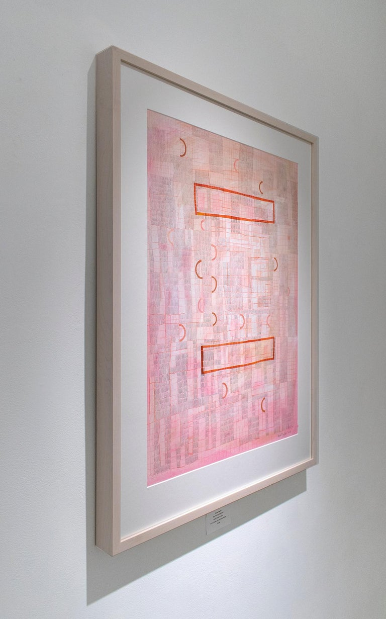 Pink Grid (Abstract Geometric Collage Drawing, Custom Non-Glare Frame) - Art by Donise English