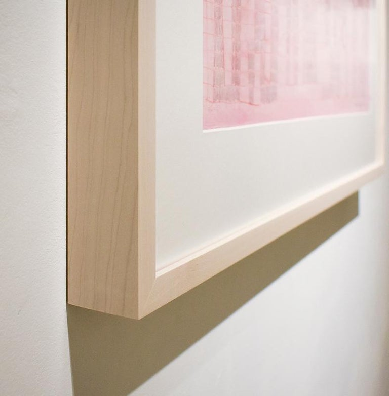 Pink Grid (Abstract Geometric Collage Drawing, Custom Non-Glare Frame) - Beige Abstract Drawing by Donise English