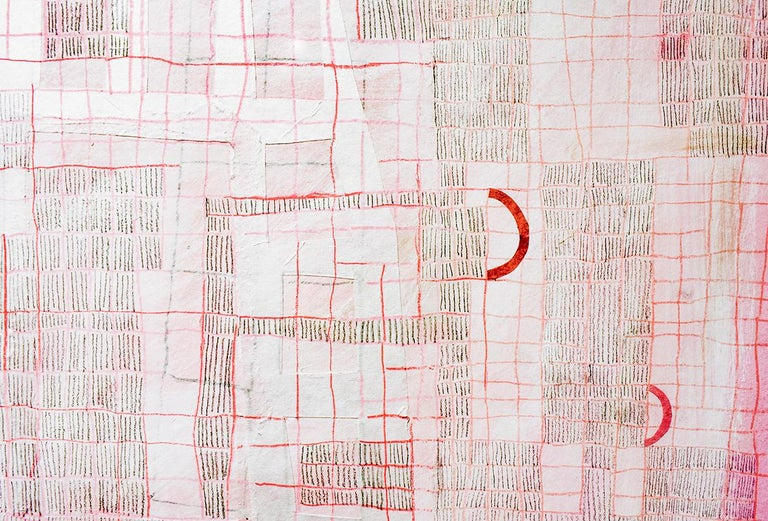 Pink Grid (Abstract Geometric Work on Paper with Grid Motif in Graphite Pencil and other mixed media, Custom Frame) 30 x 22 inches, 37 x 29 inches custom frame with non glare plexi glass. Mixed media on paper Ready to hang   This abstract geometric