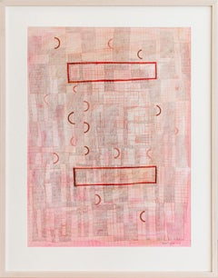 Pink Grid (Abstract Geometric Collage Drawing, Custom Non-Glare Frame)