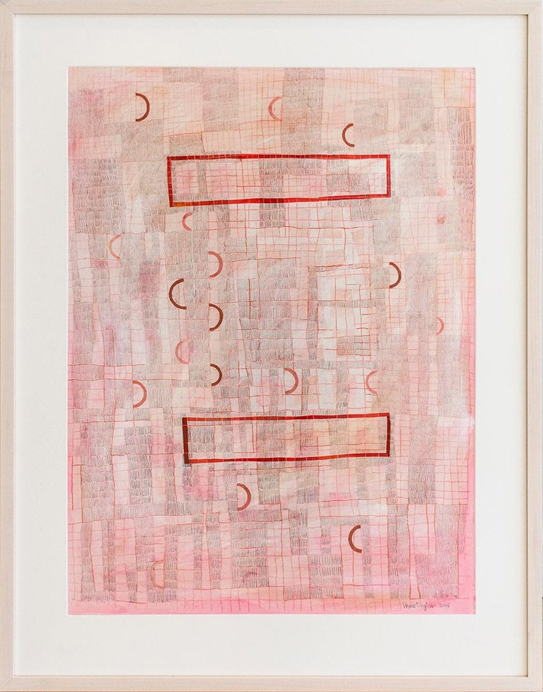 Donise English Abstract Drawing - Pink Grid (Abstract Geometric Collage Drawing, Custom Non-Glare Frame)