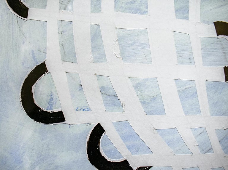 Blue Twisting Grid (Abstract Geometric Work on Paper, Custom Light Wood Frame) For Sale 1