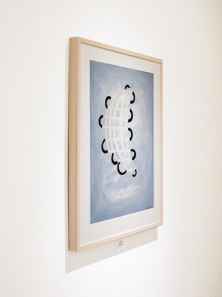 Blue Twisting Grid (Abstract Geometric Work on Paper, Custom Light Wood Frame) For Sale 2