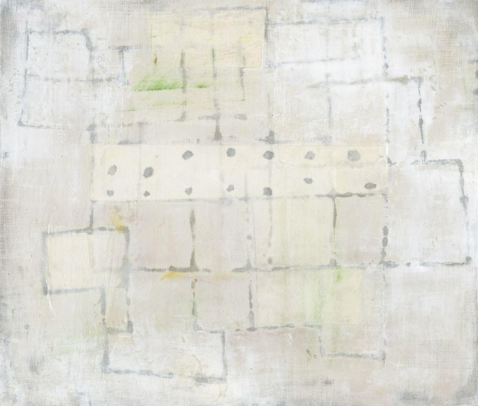 Untitled White 1 (Abstract Geometric Mixed Media Work on Wooden Panel)