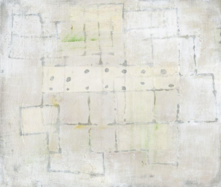 Donise English Abstract Drawing - Untitled White 1 (Abstract Geometric Mixed Media Work on Wooden Panel)